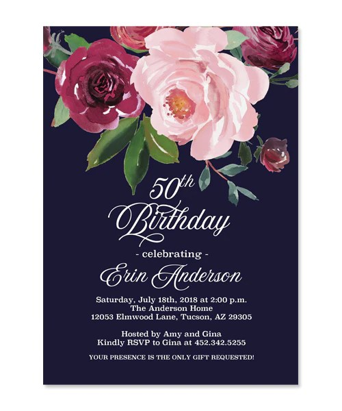 Navy And Pink Bridal Shower Invitations