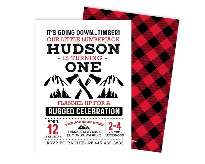 lumberjack birthday invitation lumberjack first birthday boy lumberjack birthday invite lumberjack invitation lumberjack party boy birthday