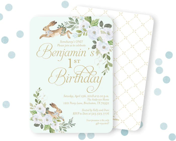 some bunny is turning one boy s first birthday invitation some bunny 1st birthday invite spring bunny birthday invite little boy bunny