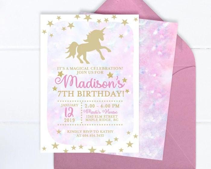 unicorn birthday invitation girl unicorn invitation gold glitter unicorn party invite birthday invitations unicorn girl