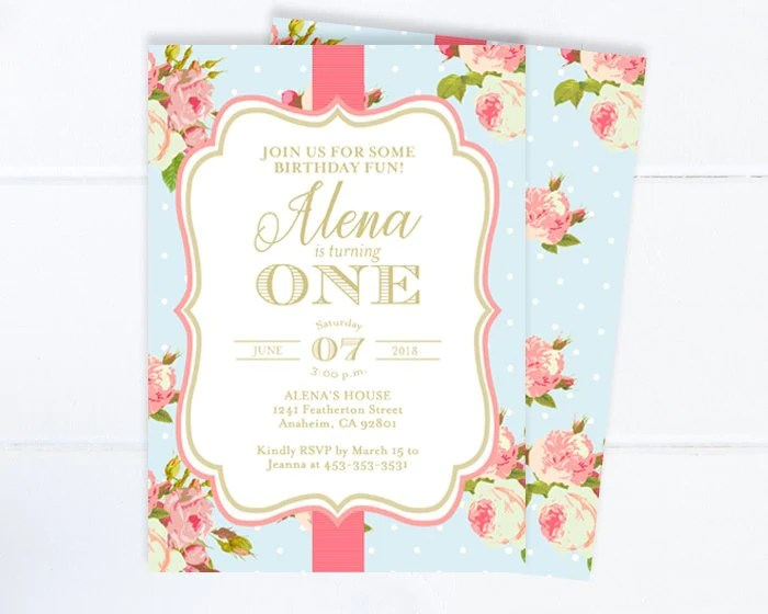 floral first birthday invitation girl tea party 1st birthday invite vintage roses style pink roses tea party invite any age