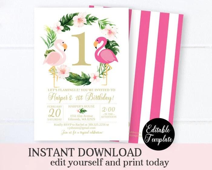 let s flamingle 1st birthday invitation printable girl pink flamingo birthday invite tropical invitation floral flamingo invitation sp0023