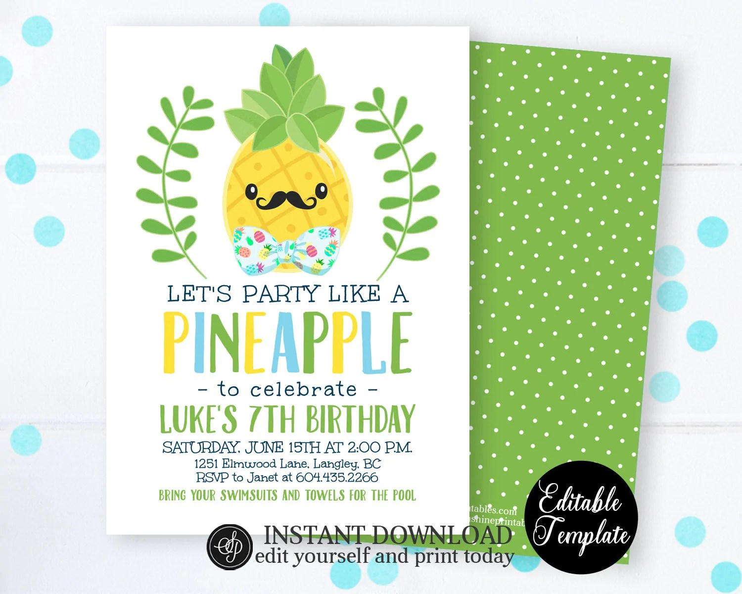 let s party like a pineapple invitation boy pineapple birthday invitation summer birthday invite printable editable template sp0042
