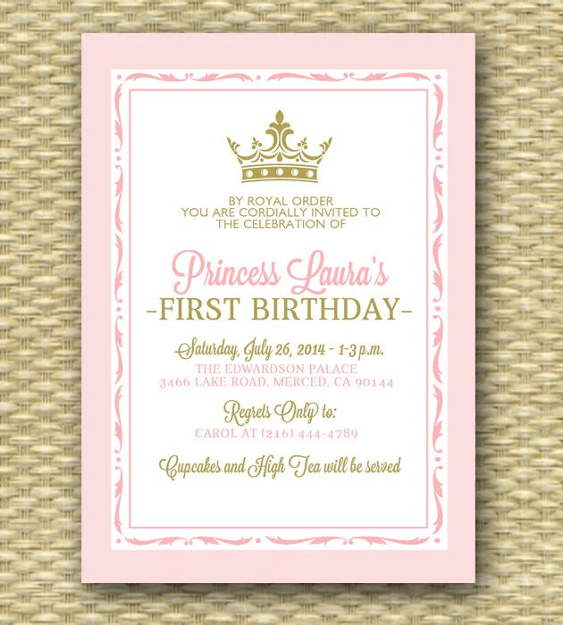 Pink And Gold Princess First Birthday Invitation Royal Baby Girl Sho Sunshine Printables