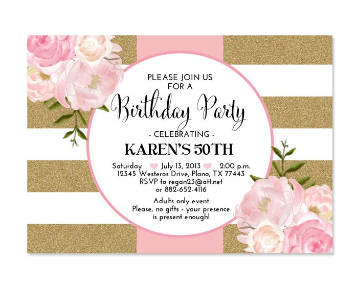 30th birthday invitation pink gold glitter stripes pink peonies floral birthday invitation 21st 30th 40th 50th 60th 70th any age or event