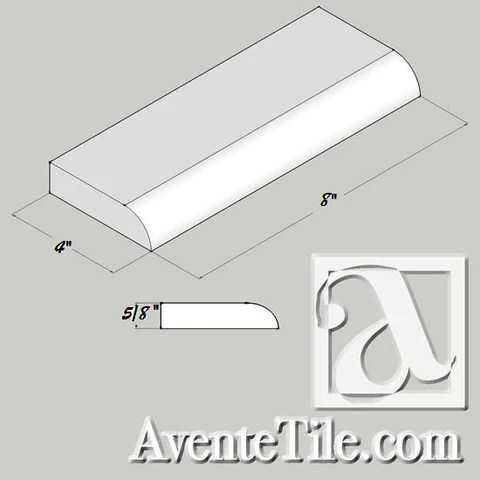 classic 4 x 8 surface bullnose base trim cement tile