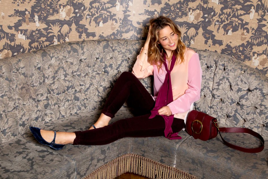 Kelly London Chatter wears DONNA IDA Miss Maggie Blouse and Rizzo Jeans in Plum Corduroy