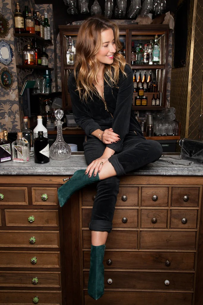 Kelly London Chatter wears DONNA IDA Dolly Zip Flight Suit in Black Corduroy