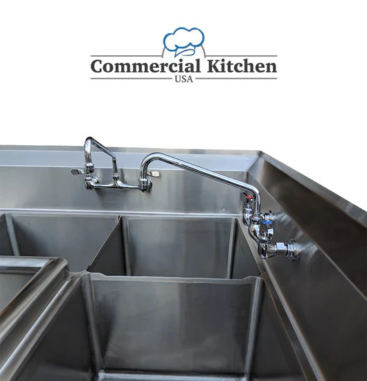 commercial 3 compartment stainless