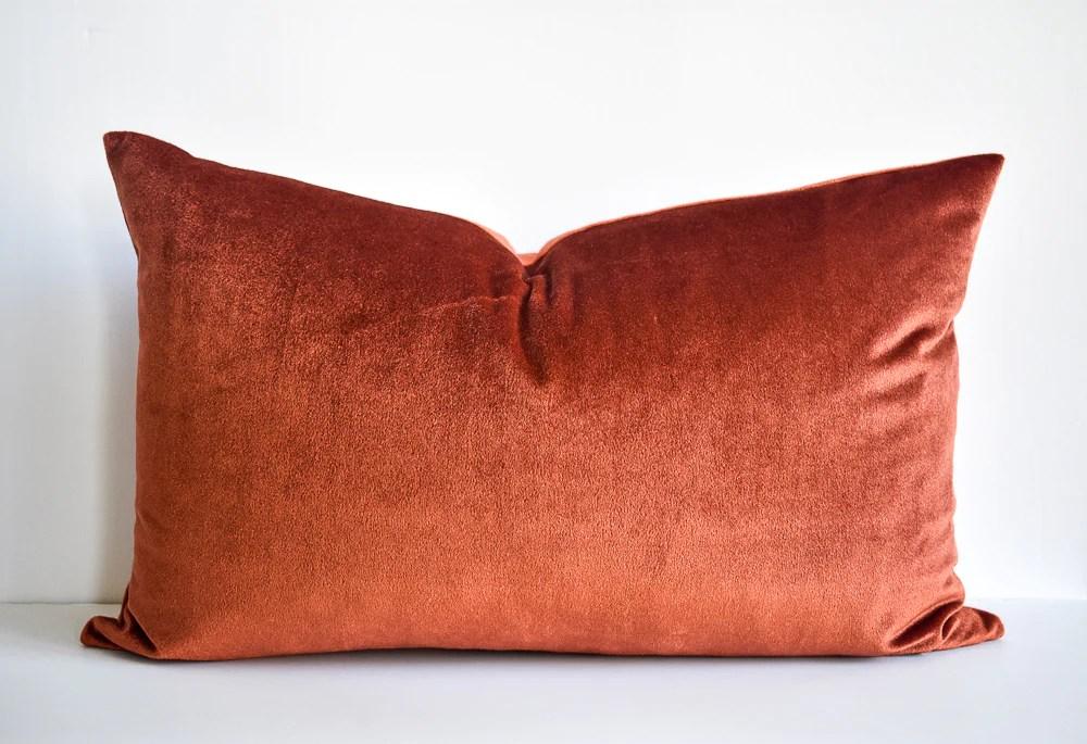 velvet lumbar pillow rust