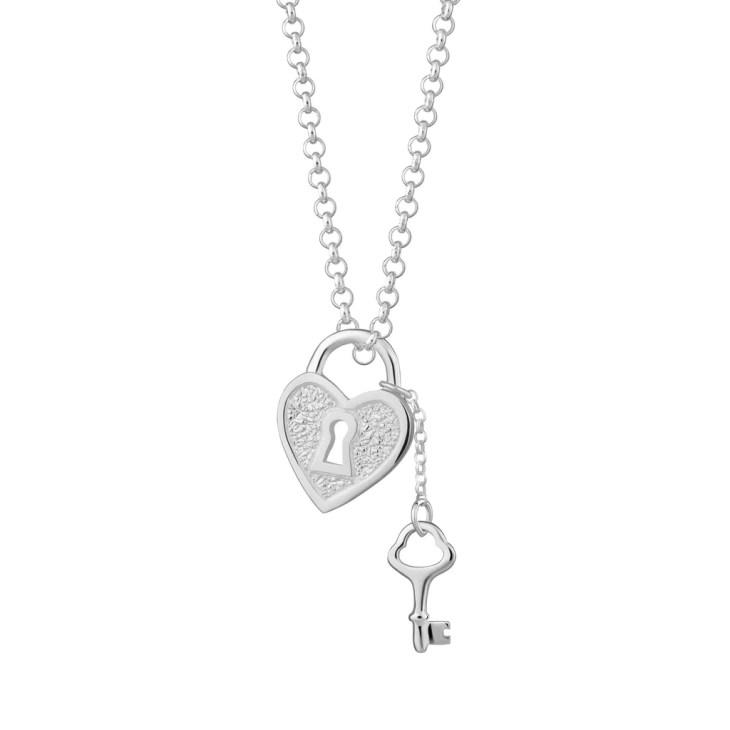 Heart Shaped Padlock and Key Necklace