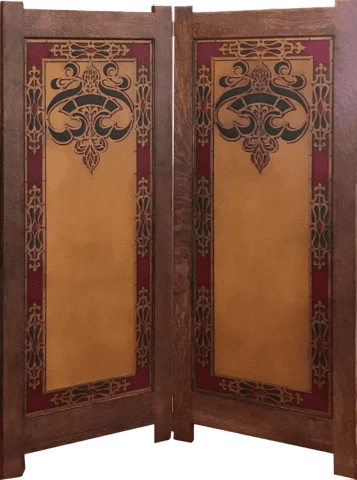 New Custom White Oak Folding Screen With Inset Antique