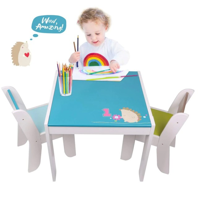 Wooden Activity Table Chair Set Blue Hedgehog Toddler Table For 1 5 Years
