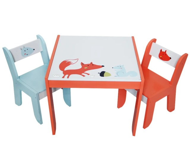 Wooden Activity Table Chair Set Fox Printed White Toddler Table For 1 Labebe
