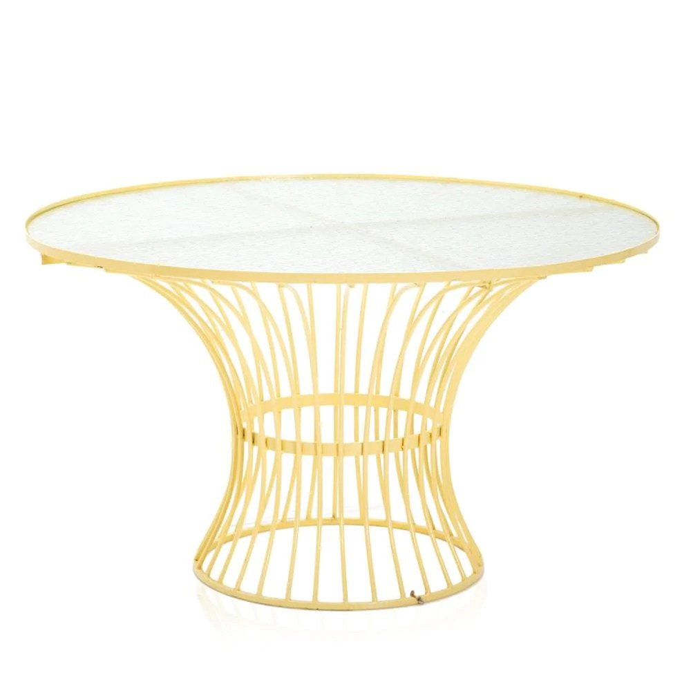 yellow wire patio dining table