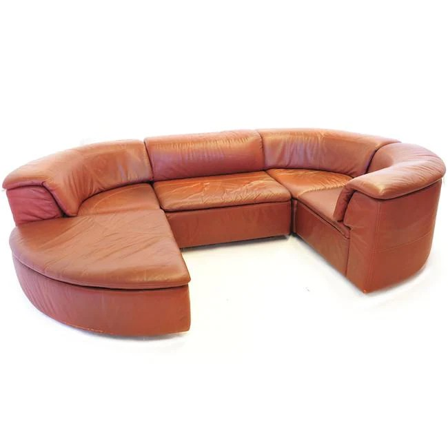 sectional pit sofa brown leather