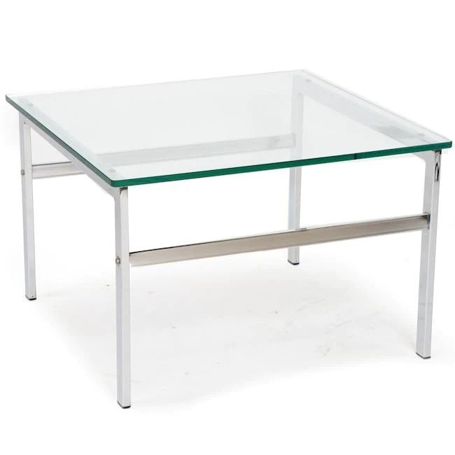 chrome coffee table with square glass top