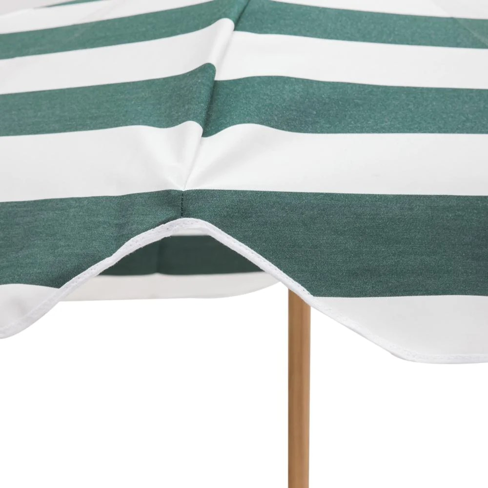 forest green and white striped patio umbrella with base