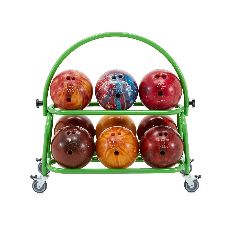short green bowling ball rack