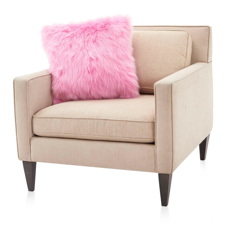 bubblegum pink faux fur pillow