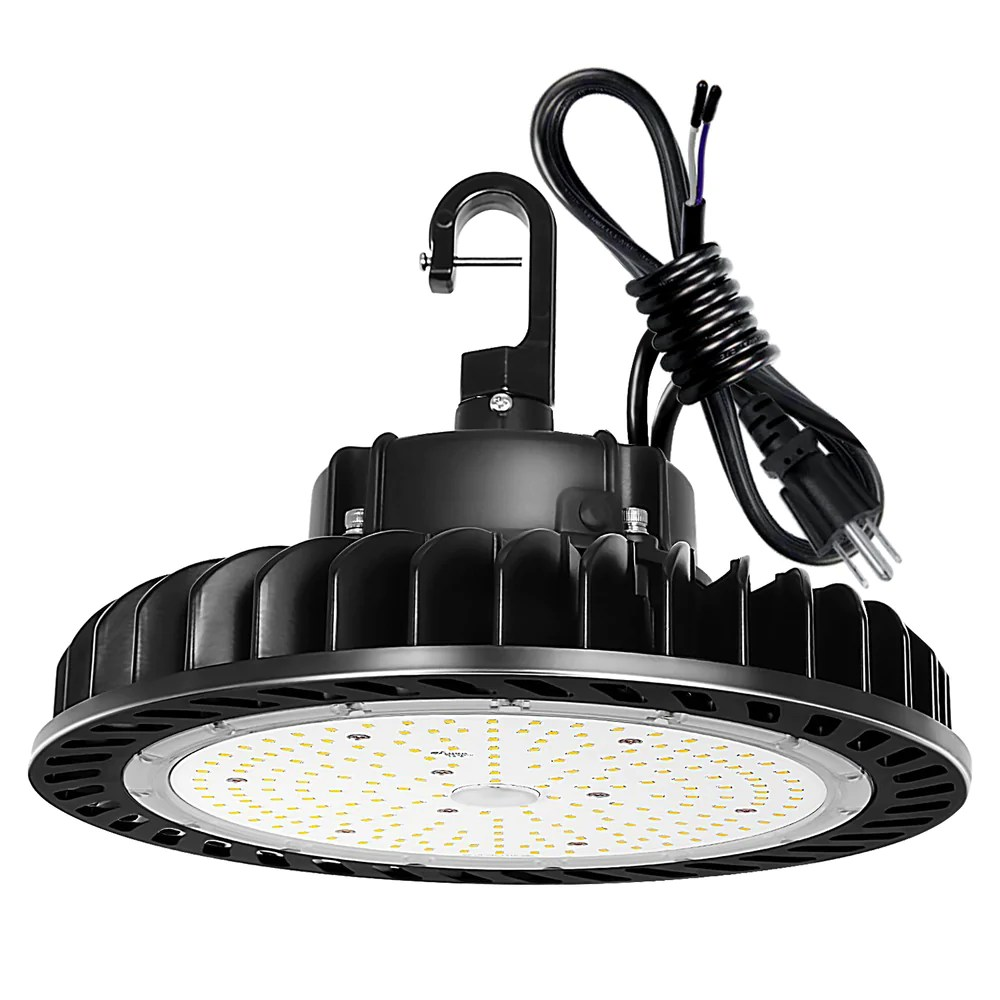 led high bay light 200w 1 10v dimmable 5000k 28 000lm ufo led high bay light fixture 5 cable with us plug 400w 750w mh hps equiv commercial
