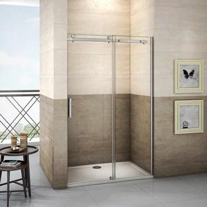 aica porte de douche coulissante 195cm de haut verre securit clair anticalcaire de 8mm installation en niche differentes dimensions disponibles