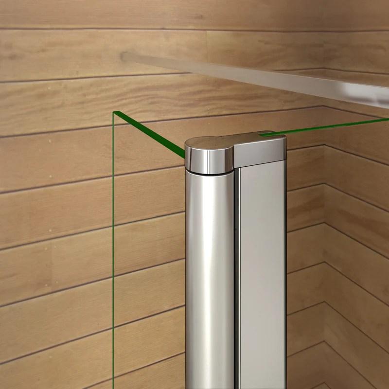 aica paroi de douche a l italienne en verre clair anticalcaire avec un retour pivotante 40 cm et une satbislisation de 90cm