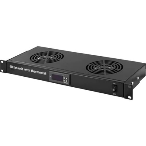 1u 19 inch rackmount fan element with 2 fans with thermostat for it network server data cabinet enclosure racks