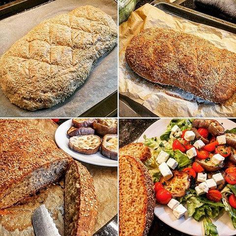 Pain maison et salade