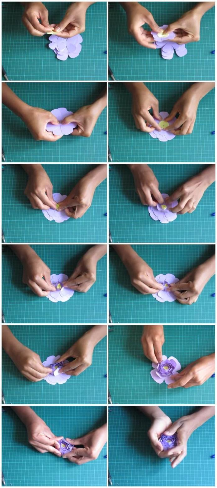 DIY étapes d'assemblage d'une fleur en papier