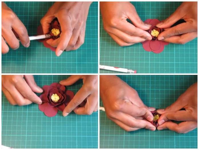 DIY étape de montage d'une fleur en papier