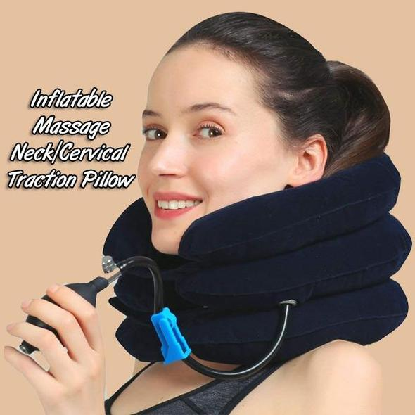 inflatable massage neck cervical traction pillow