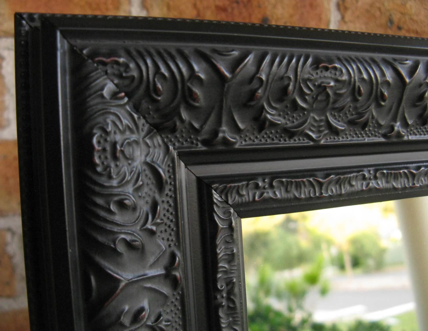 Viera Aged Black Ornate Wood Frame Large Wall Mirror Image