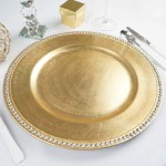 Pack Of 6 13 Round Gold Acrylic Charger Plates With Rhinestones Tableclothsfactory