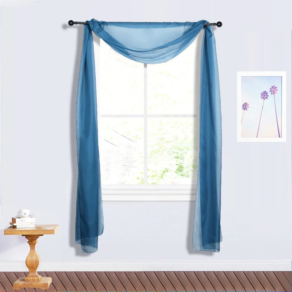 18 ft navy blue window scarf valance wedding drapery sheer organza fabric