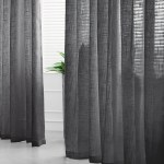Pack Of 2 52 X96 Charcoal Gray Faux Linen Curtains Semi Sheer Curtain Panels With Chrome Grommet Tableclothsfactory