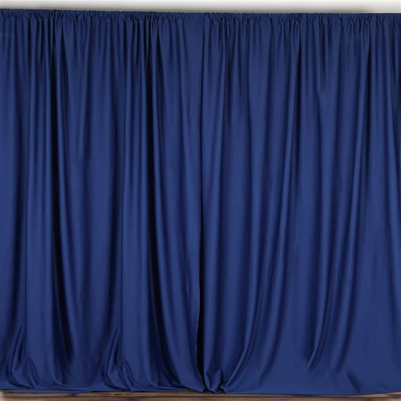 pack of 2 5ftx10ft navy blue fire retardant polyester curtain panel backdrops with rod pockets