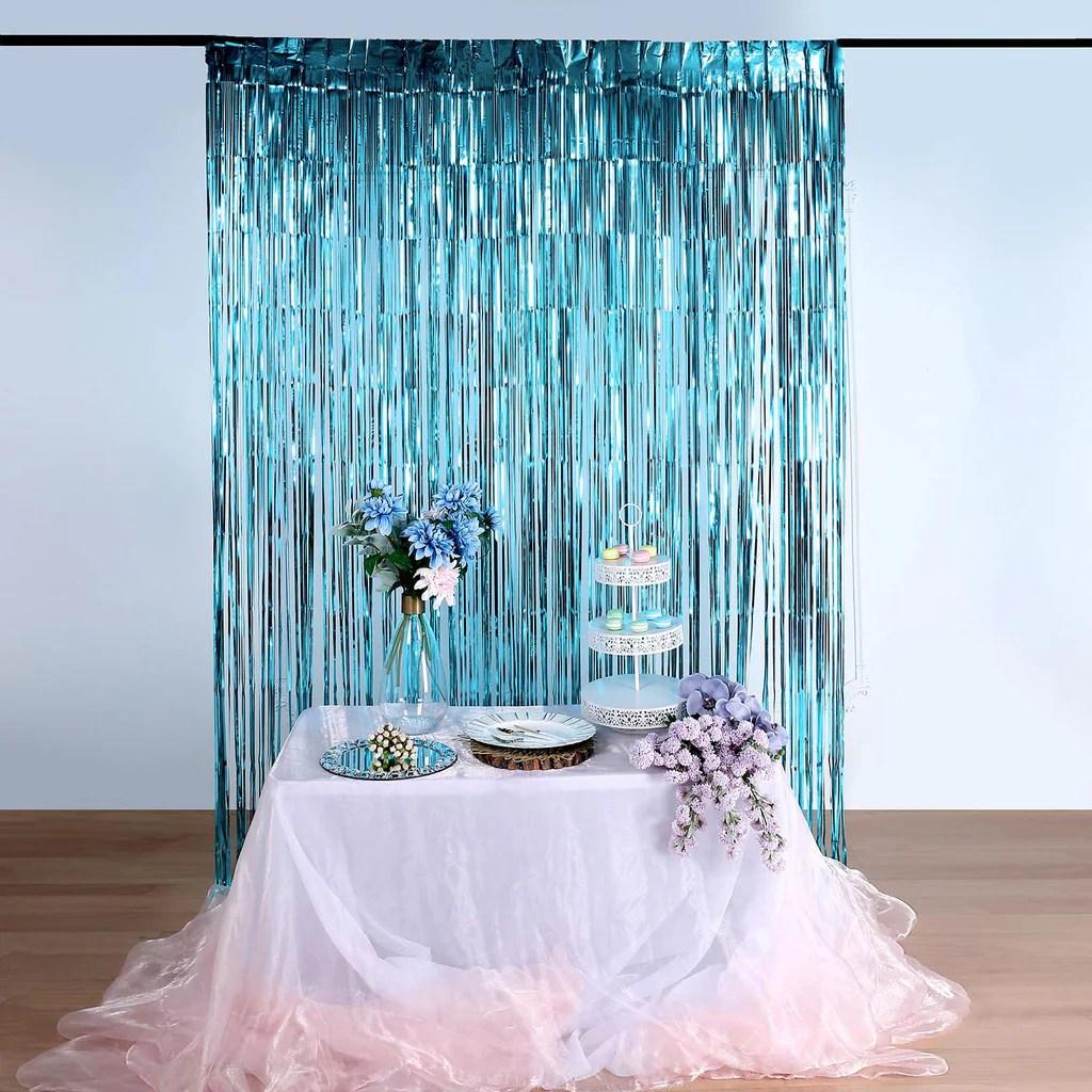 8ft blue metallic foil fringe curtain