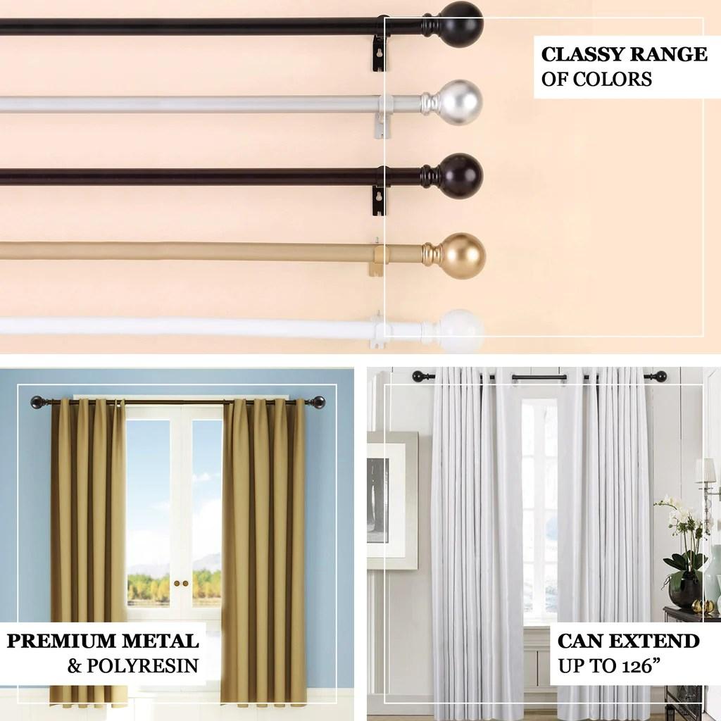 42 126 adjustable curtain rod set black round finials