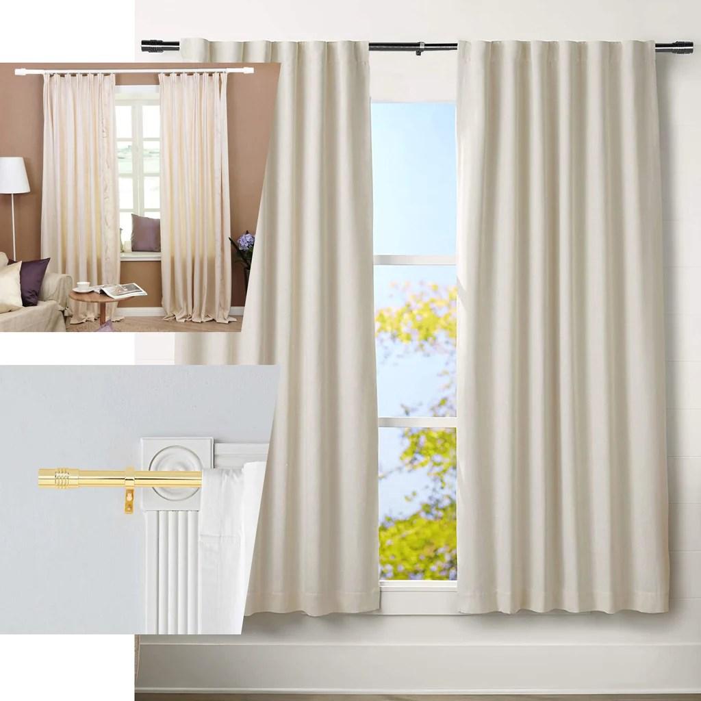 42 126 metal adjustable curtain rods white designer cylinder finials