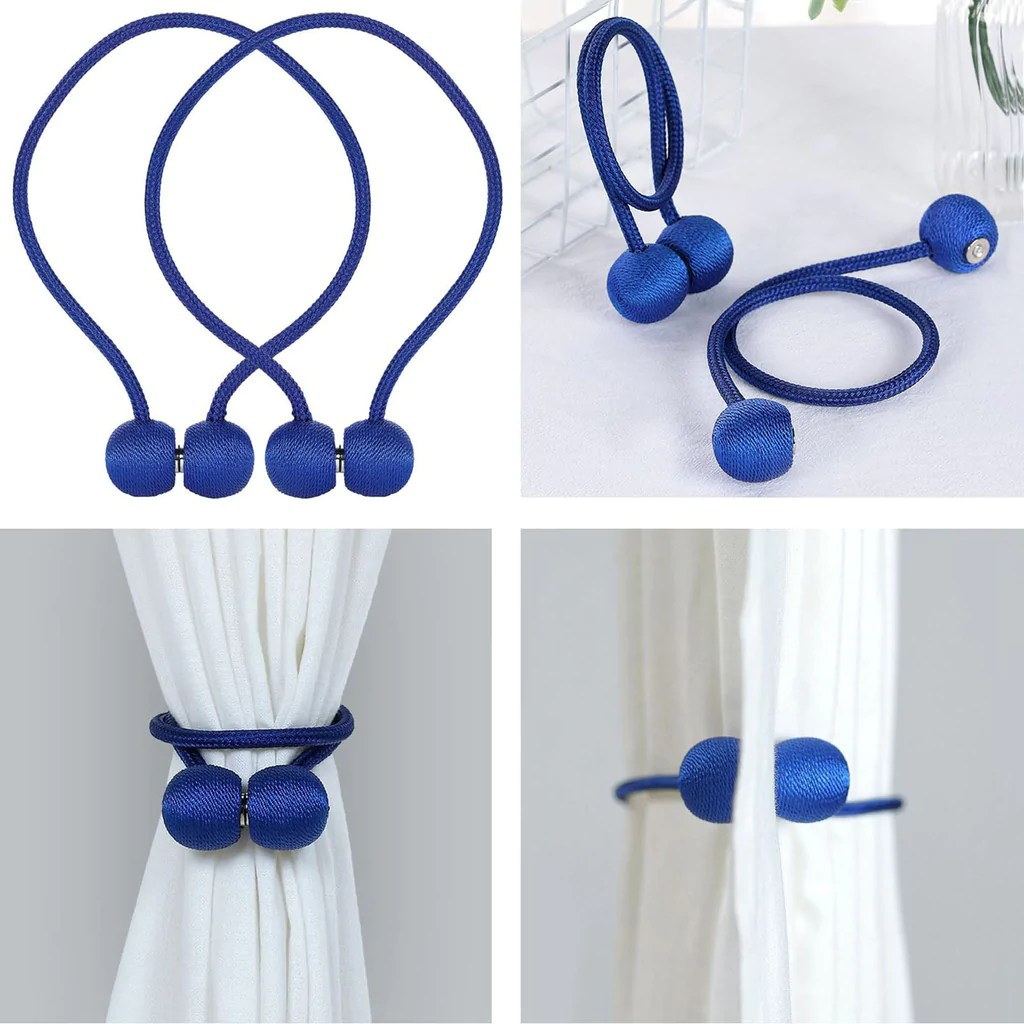 2 pack magnetic curtain tie backs for window curtains and drapes royal blue