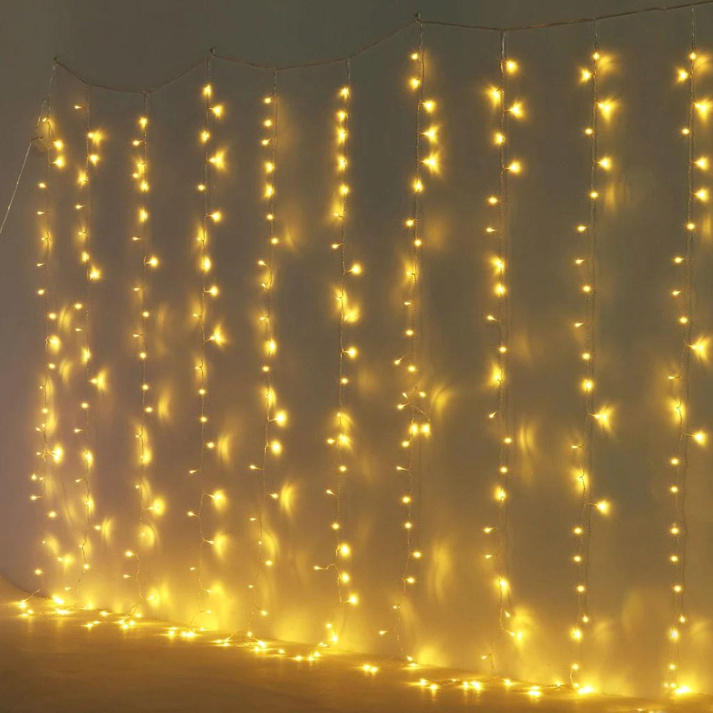 10 ft led icicle lights 300 leds 8 modes curtain fairy lights warm white