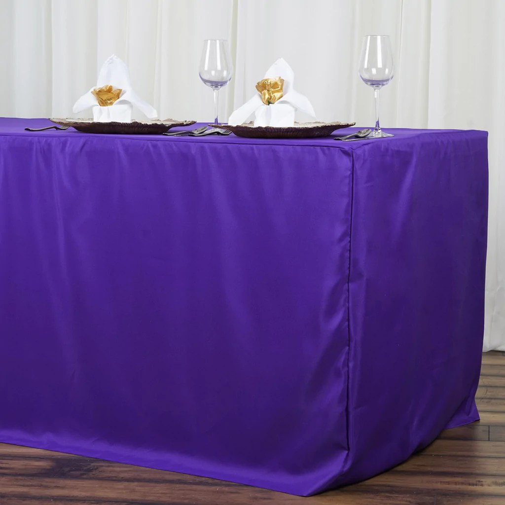 8FT Fitted PURPLE Wholesale Polyester Table Cover Wedding