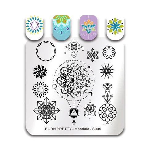 Born Pretty Square Nail Stamping Plates Roses Flowers Stainless