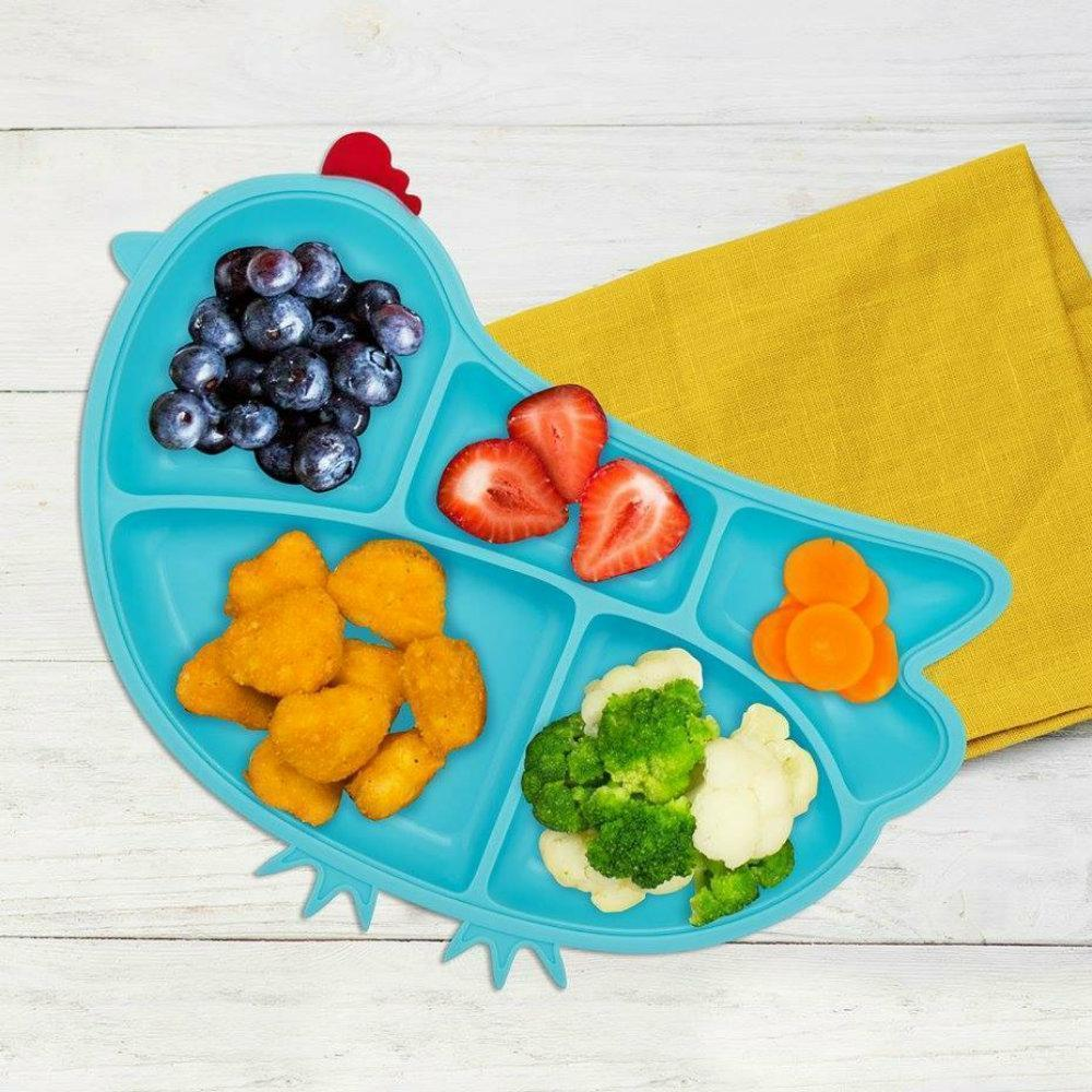 Innobaby Silicone Chicken Plate with Suction Blue 嬰兒叮叮雞雞吸盤 (3個顏色) - ShopaBaby