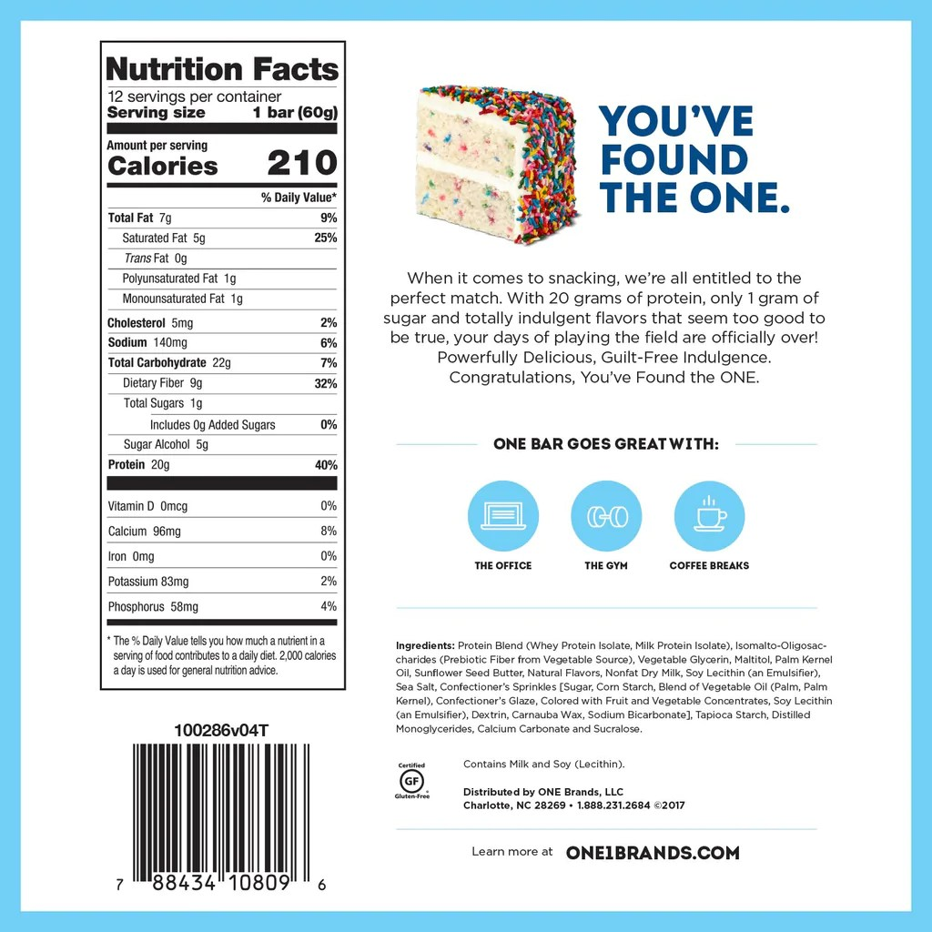 Ohyeah One Bar Birthday Cake Core Sports Nutrition