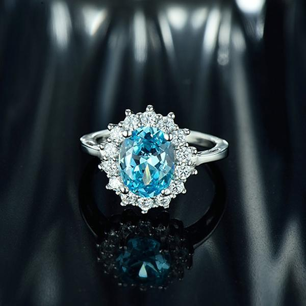 Princess Diana Inspired 20ct Aquamarine S925 Ring March