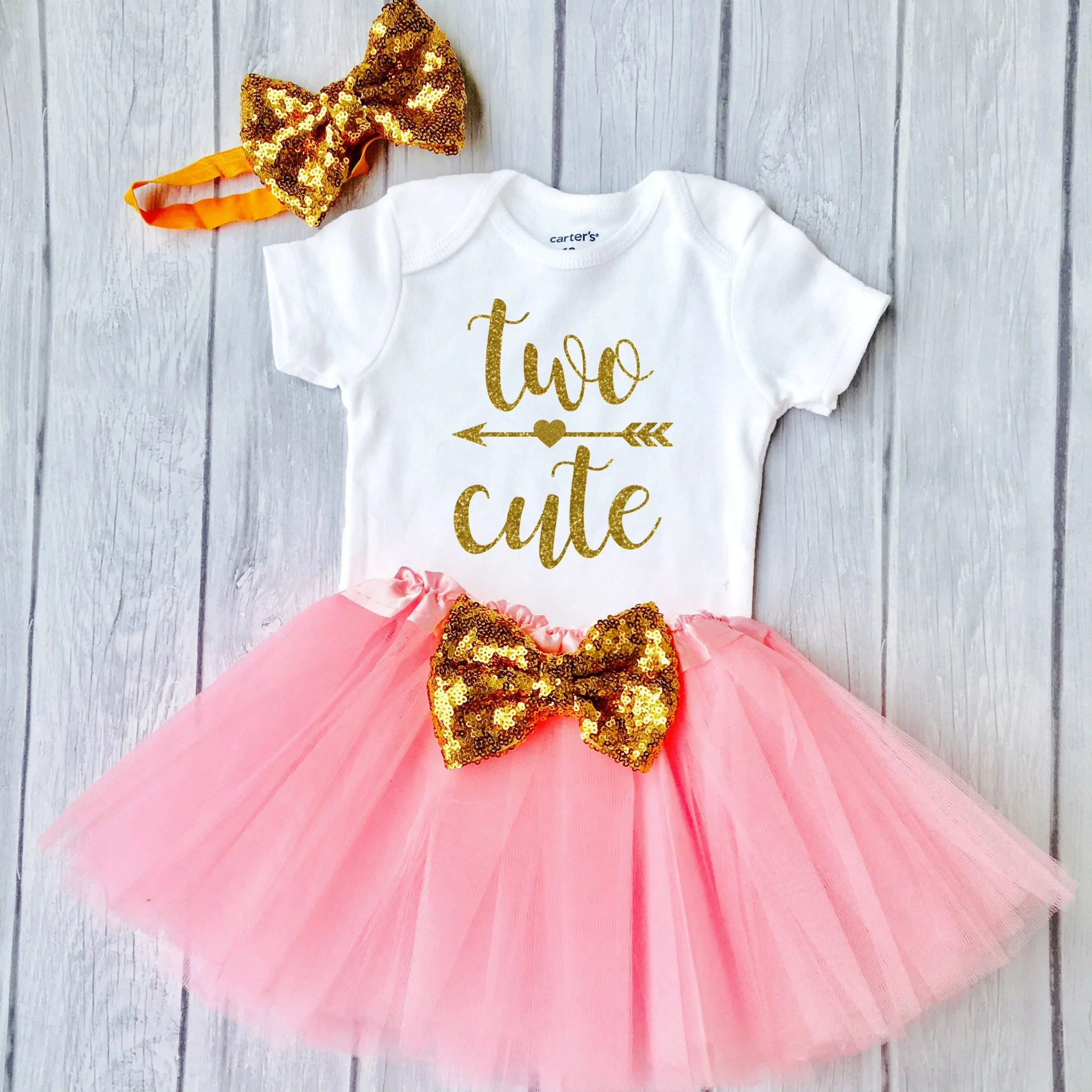 Two Cute Second Birthday Outfit 2nd Birthday Pink And Gold Tutu Birthday Outfit 2nd Birthday Funmunchkins