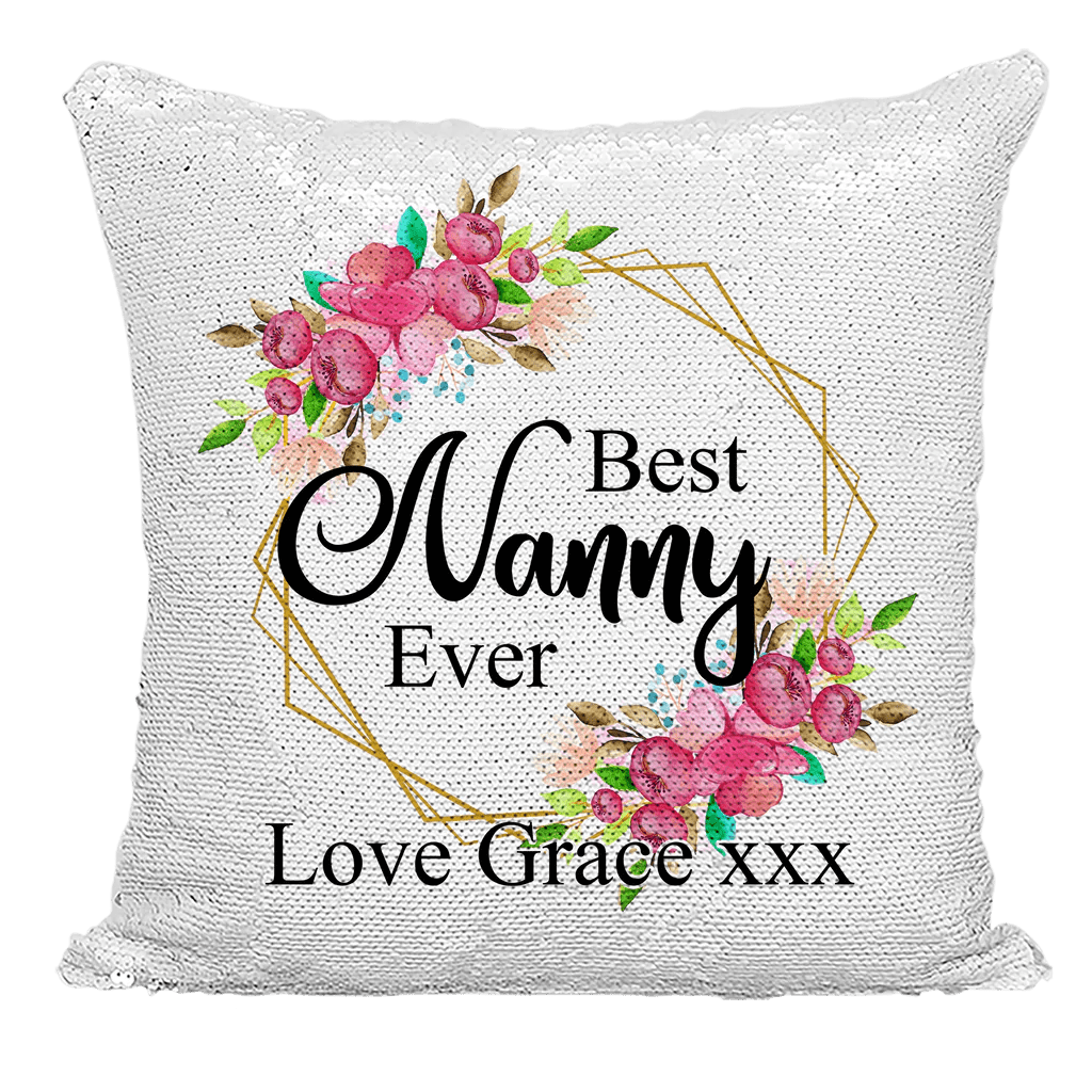 nanny mother s day gift personalised best nanny ever sequin cushion cover