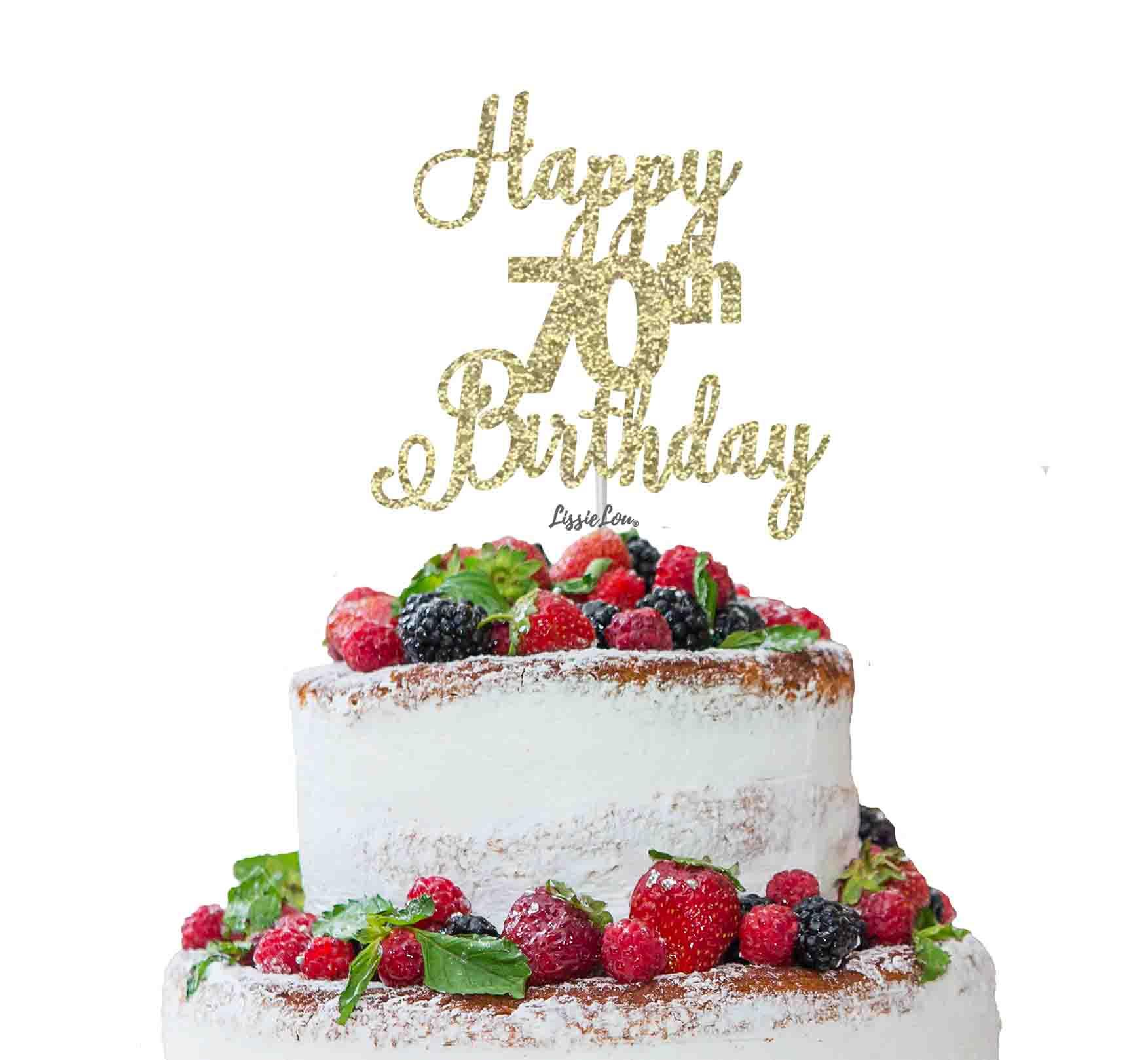 Happy 70th Birthday Pretty Cake Topper Glitter Card Lissielou